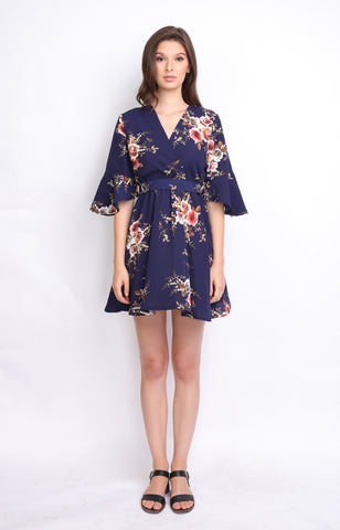 Navy Blue Floral Overlap Midi Dress