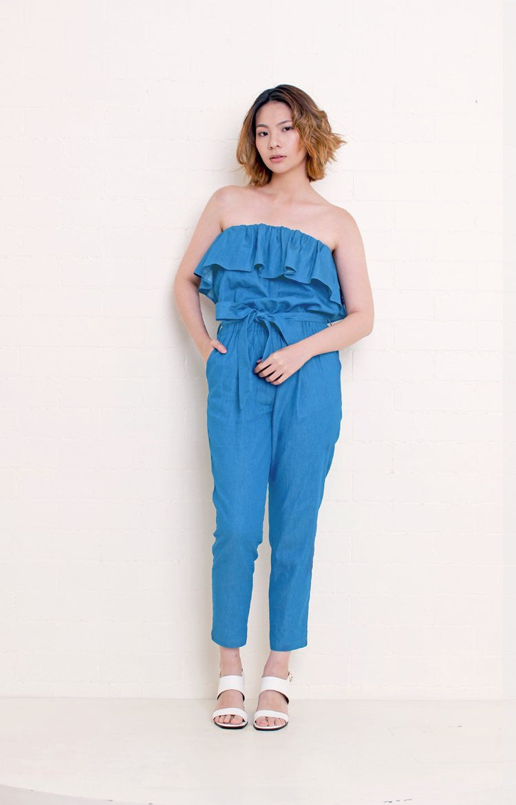 Chambray Tube Jumpsuit in Light Blue