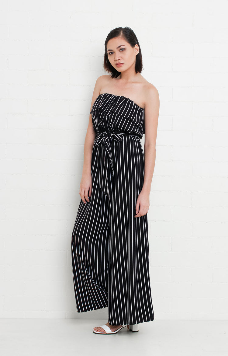 Tube Jumpsuit in Black and White Stripes