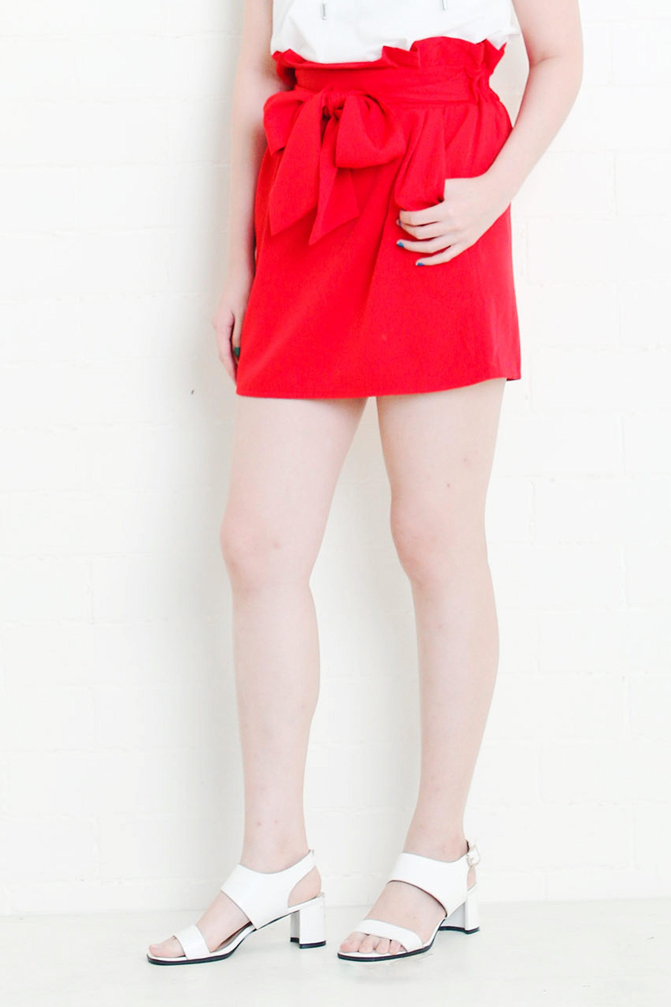 Paperbag Skirt in Red