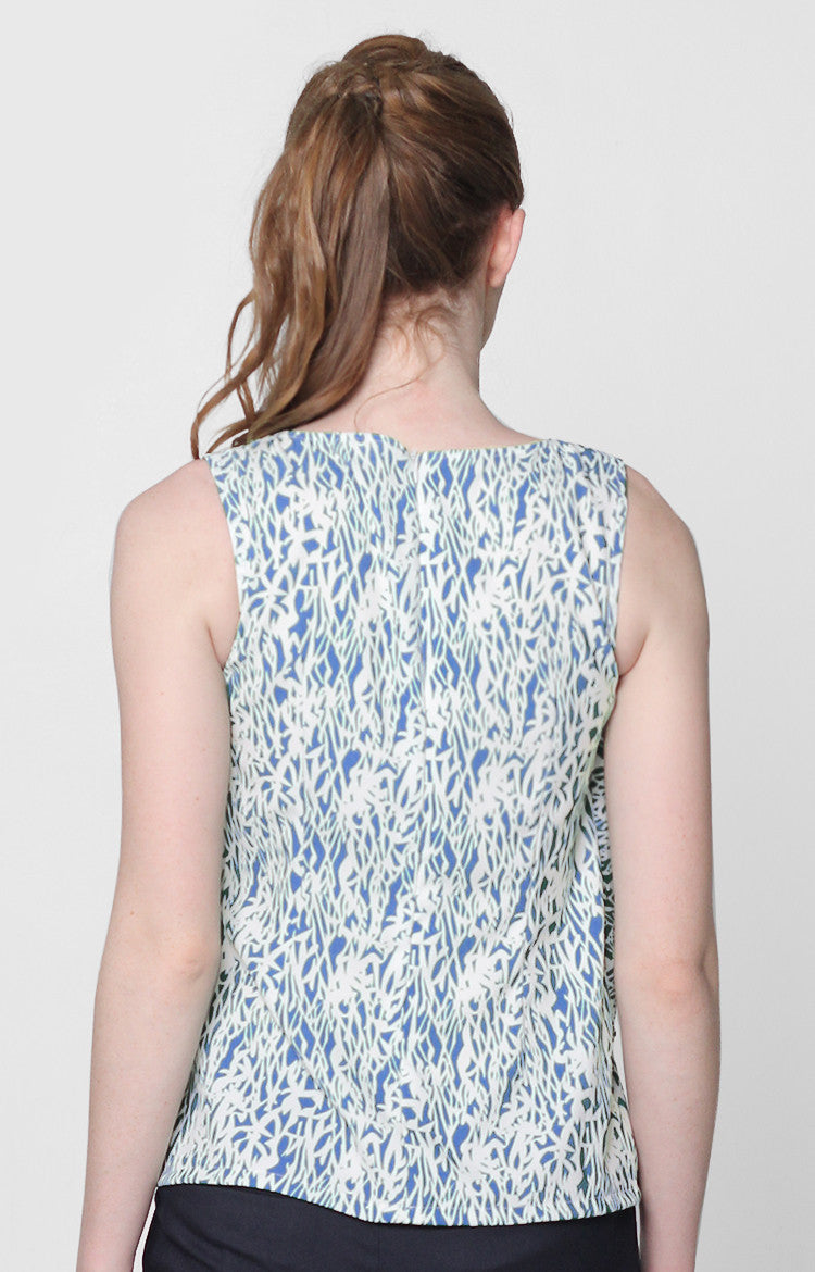 Jordana Top- Blue Printed
