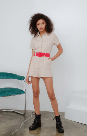 JMK Romper in Beige with Fuchsia Belt