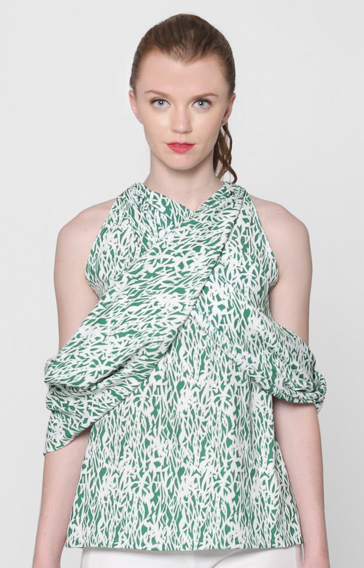 Mikaela Top- Green Printed
