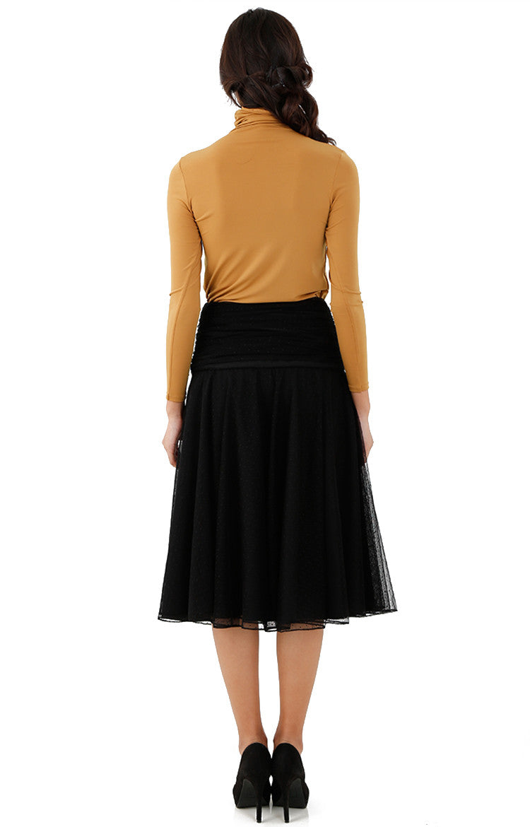 Pleated Tulle Midi Skirt-Black Polka Dot