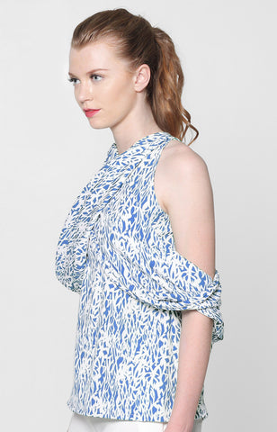 Mikaela Top- Blue Printed