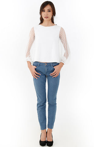 Polka Dot French Tulle Top-White