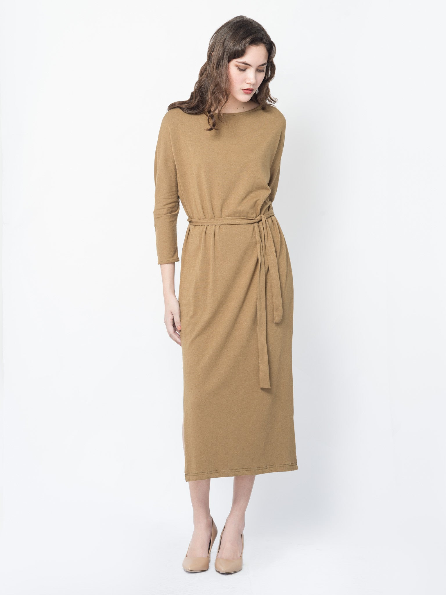 Gema Maxi Dress  in Seaweed Brown