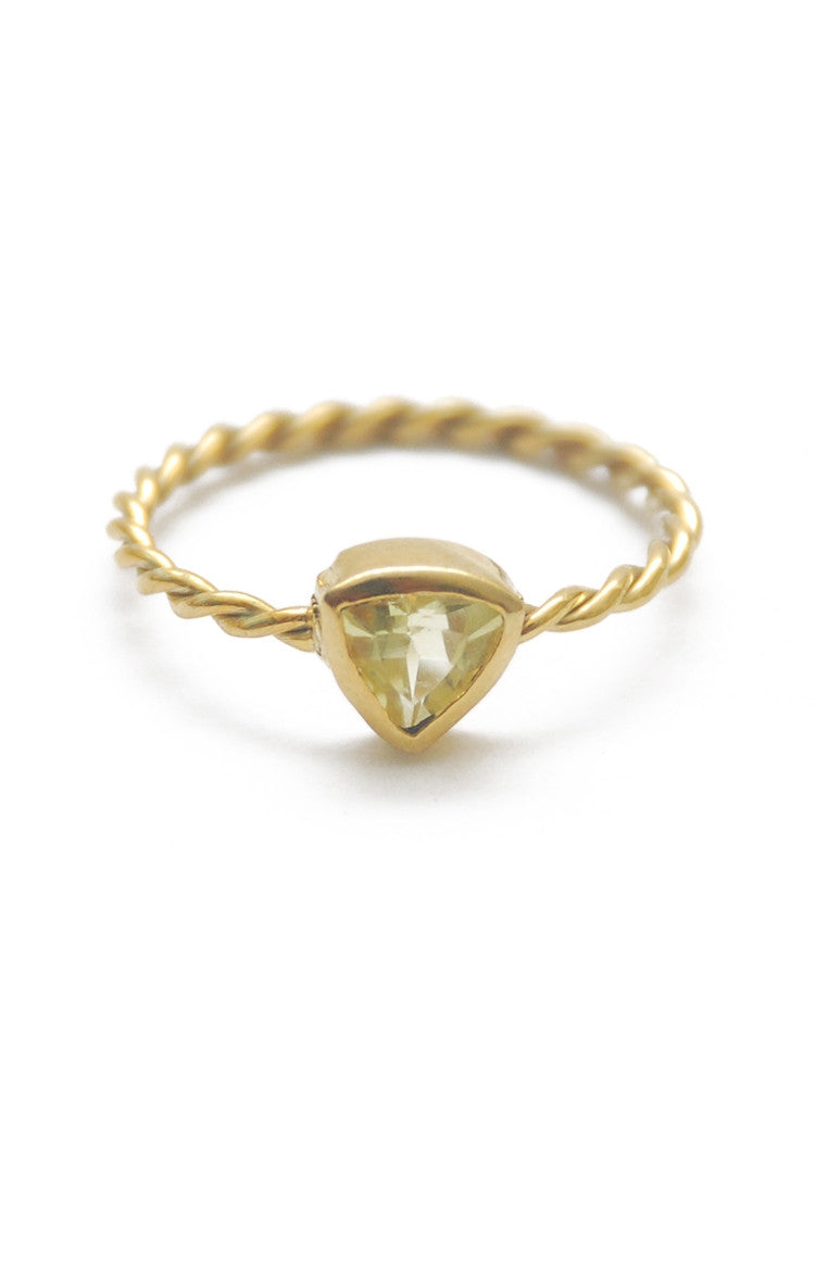 Panopio Stackable Ring - Lemon Quartz Trillion