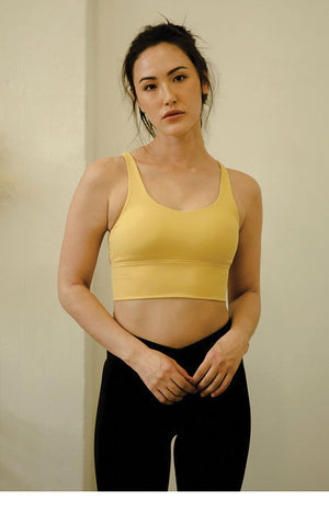 Hearten Performance Crop Top in Calendula Yellow