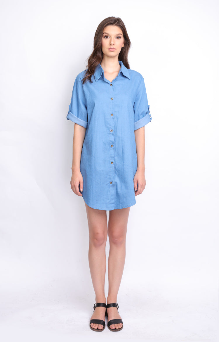 ava cloth co light denim casual dress 3 4 sleeves