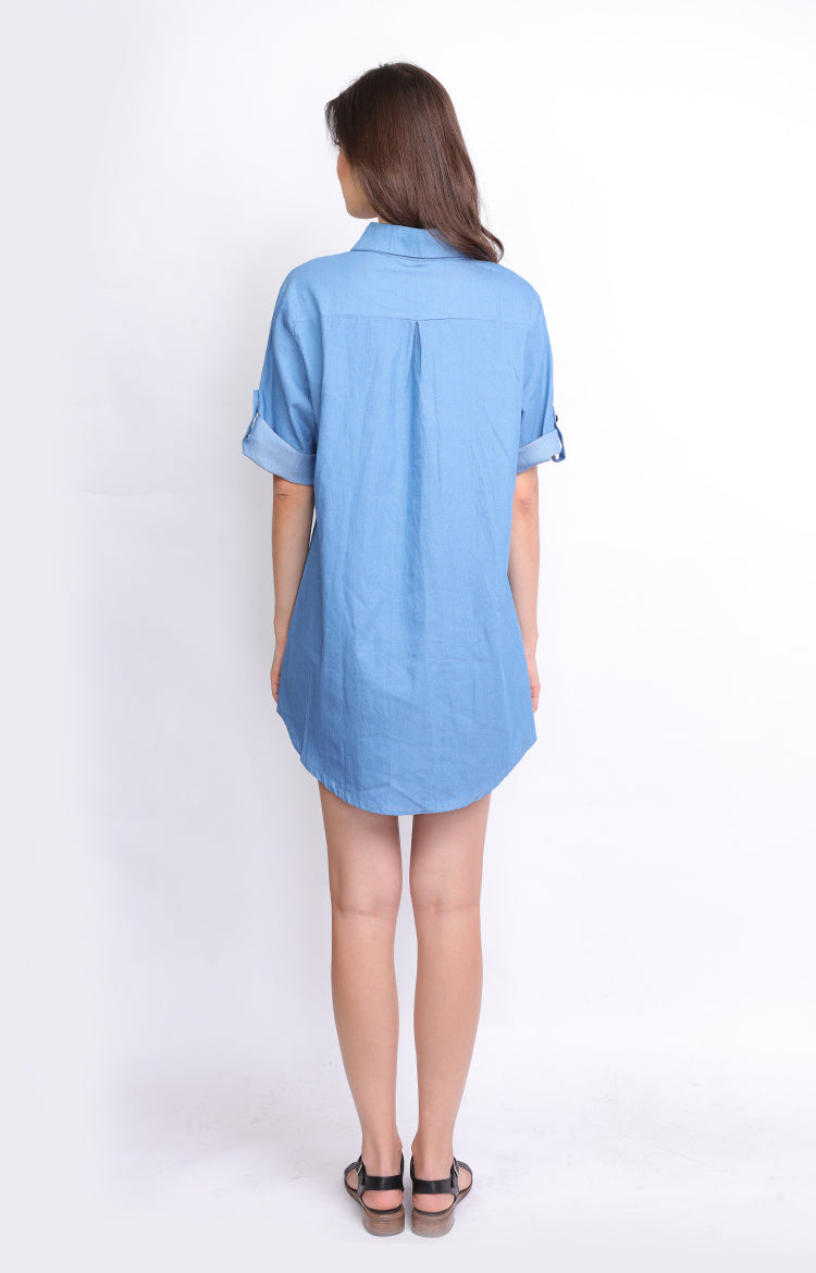 Light Denim Casual Dress 3/4 Sleeves