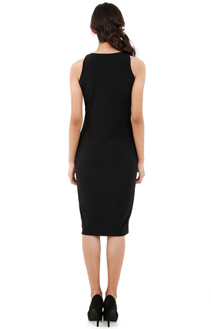 Layered Midi Dress-Black