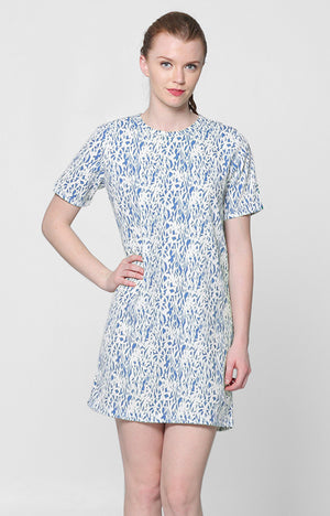 Erika Dress- Blue Printed