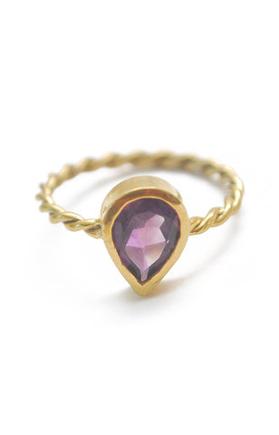 Panopio Stackable Ring - Amethyst Pear