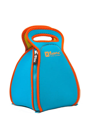 Flatbox Lunchbox in Light Blue & Orange