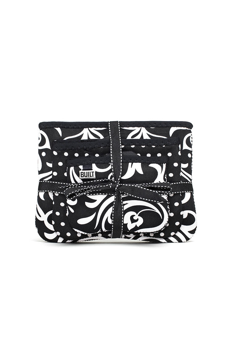 The Bryant Park Collection - Zip Cosmetic Pouches (Set of 3) - Damask & Mini Dot Black and White