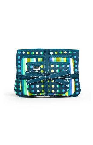 The Bryant Park Collection - Zip Cosmetic Pouches (Set of 3) - Emerald Dot & Stripe