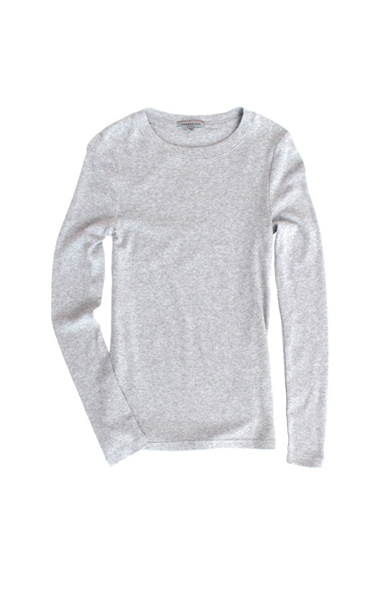 Thread 365 Women's L/S Crewneck Tee - Heather Grey