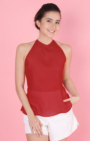 Backless Top-Red