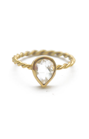 Panopio Stackable Ring - Crystal Quartz Pear