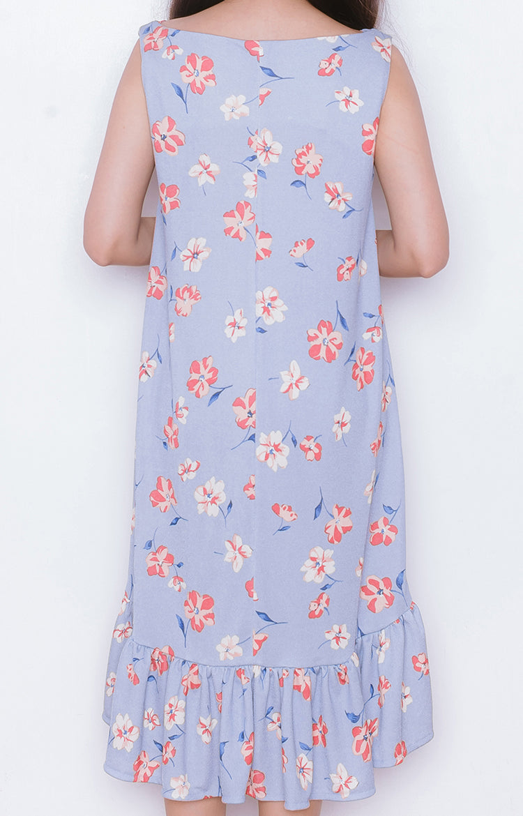 Haru Dress in Floral Blue