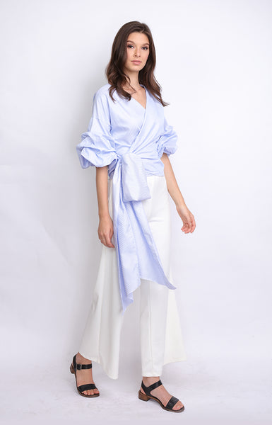 Baby Blue Ruffled Sleeves Overlap Top