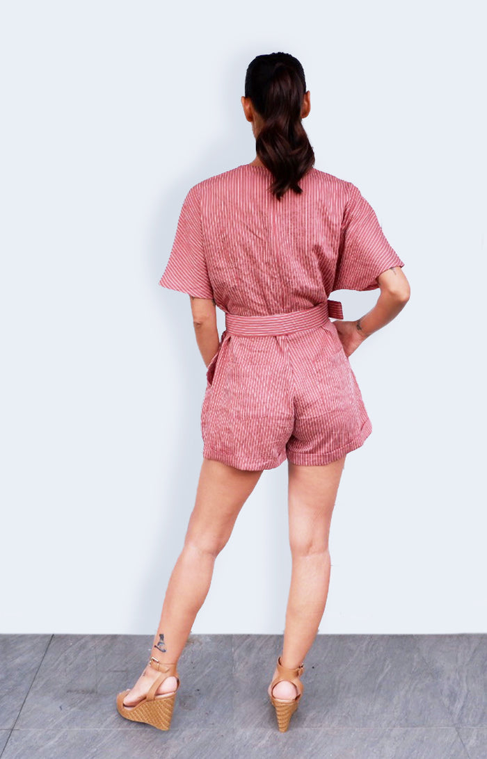 JMK Striped Romper in Old Rose