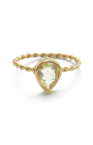 Panopio Stackable Ring - Lemon Quartz Pear