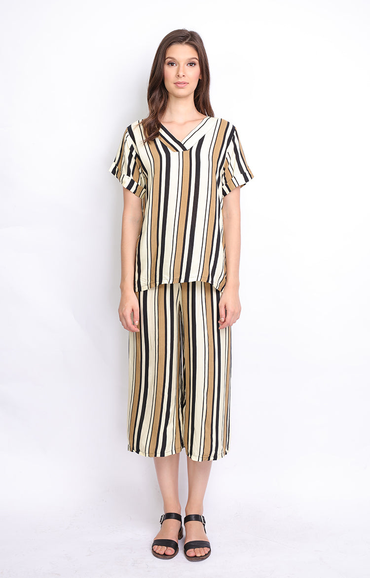 Beige Stripes Top and Culottes (SET)