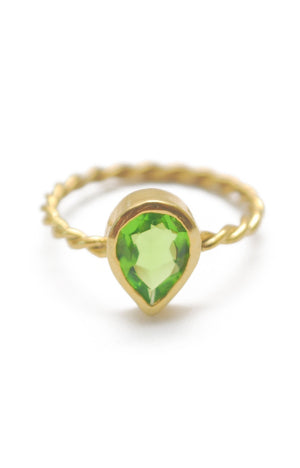 Panopio Stackable Ring - Peridot Pear