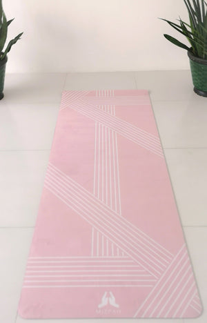 Suede 77 Line Yoga Mat in Rose Quartz