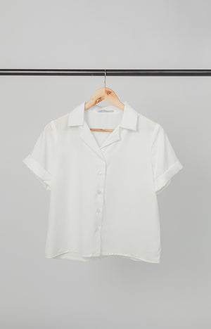 Plain White Short Sleeves Loose Women's Polo