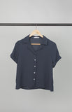 Plain Navy Blue Short Sleeves Loose Women's Polo