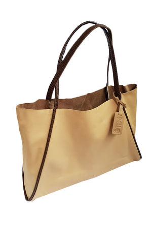 Pelle Tote in Light Tan and Brown Handle