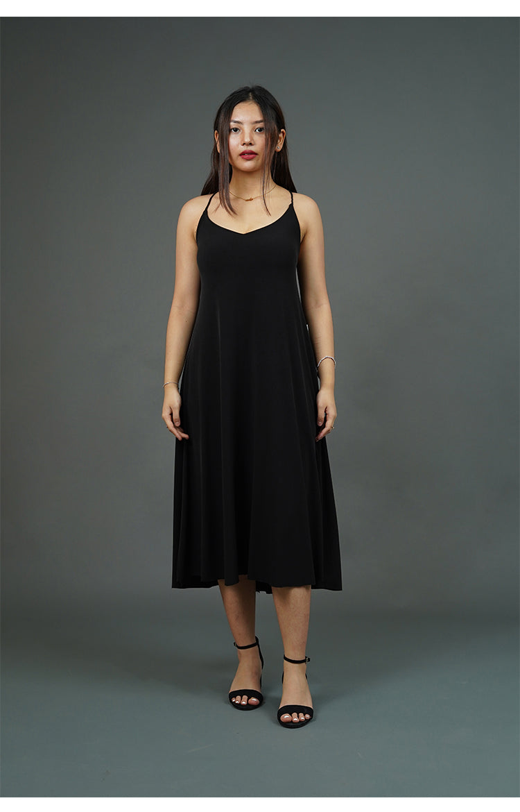 Spaghetti Strap Midi Dress (Black)