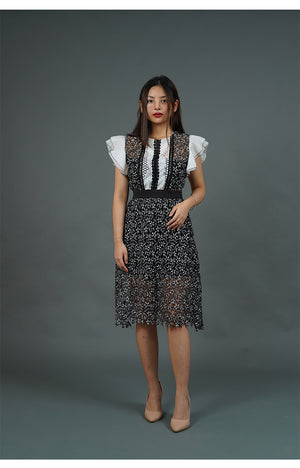 Black and White Lace Dress with Short Butterfly Sleeves