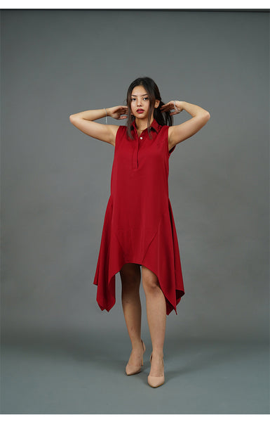 Collared Handkerchief Dress (Red)
