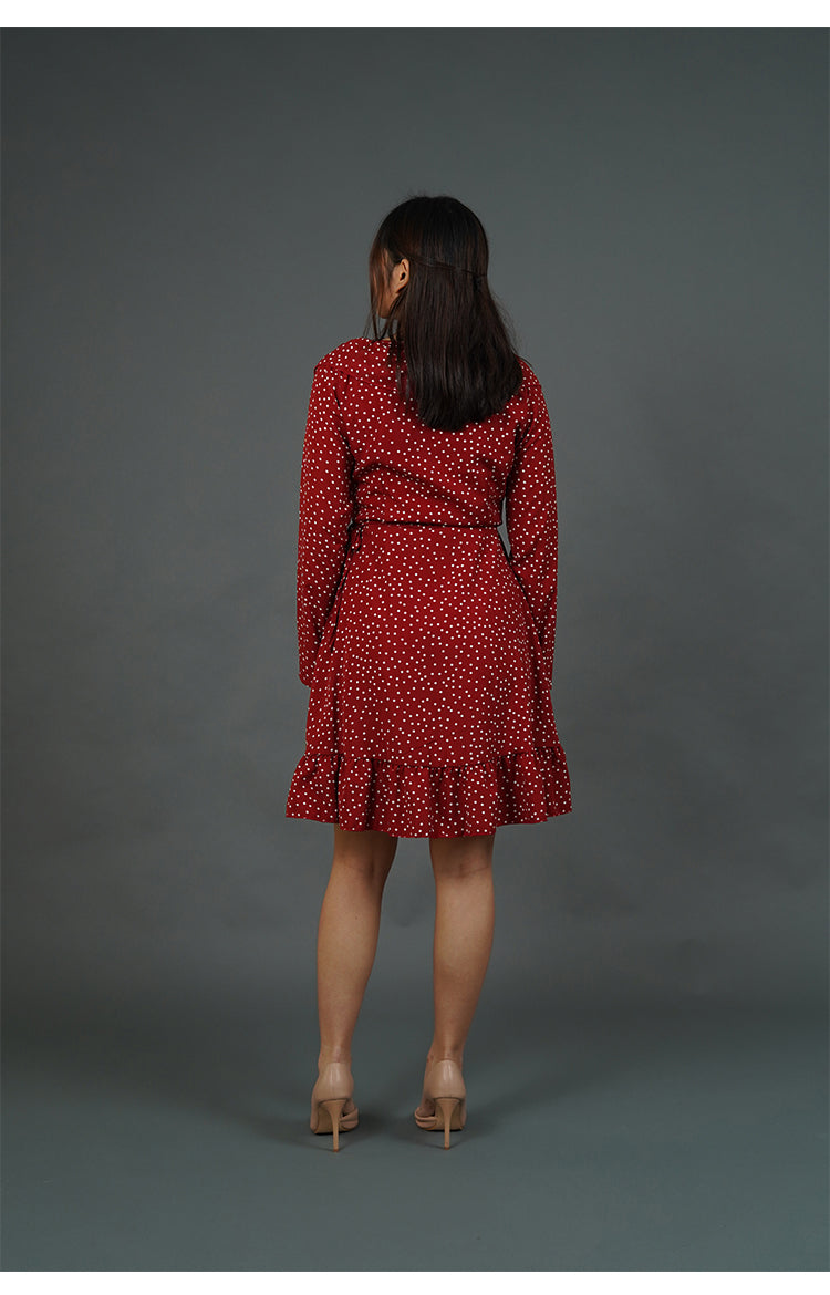 Red Wrap Dress with White Polka Dots