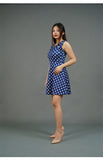 Blue Sleeveless Dress with White Polka Dots