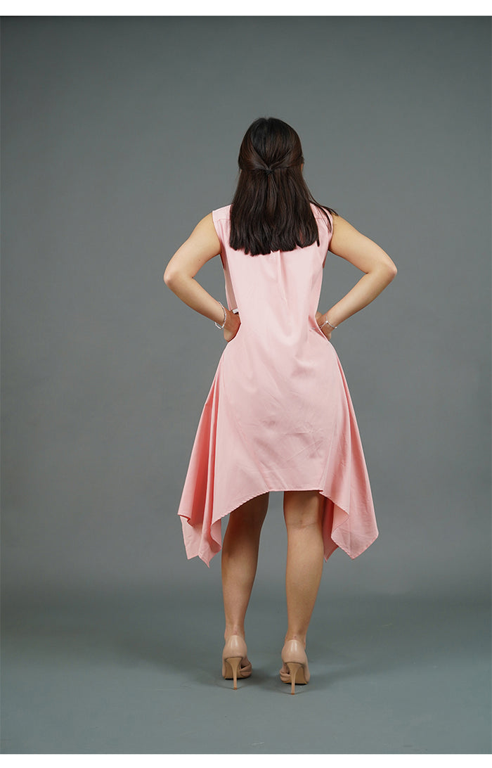 Collared Handkerchief Dress (Pink)