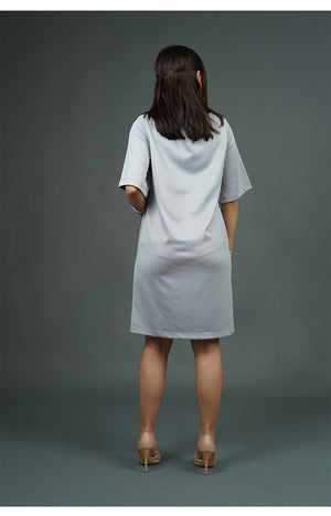 Gray Shift Dress with Sleeves