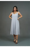 Spaghetti Strap Midi Dress (Light Gray)
