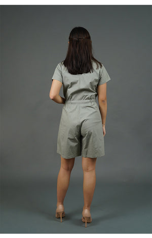 Collared Romper Shorts (Gray)