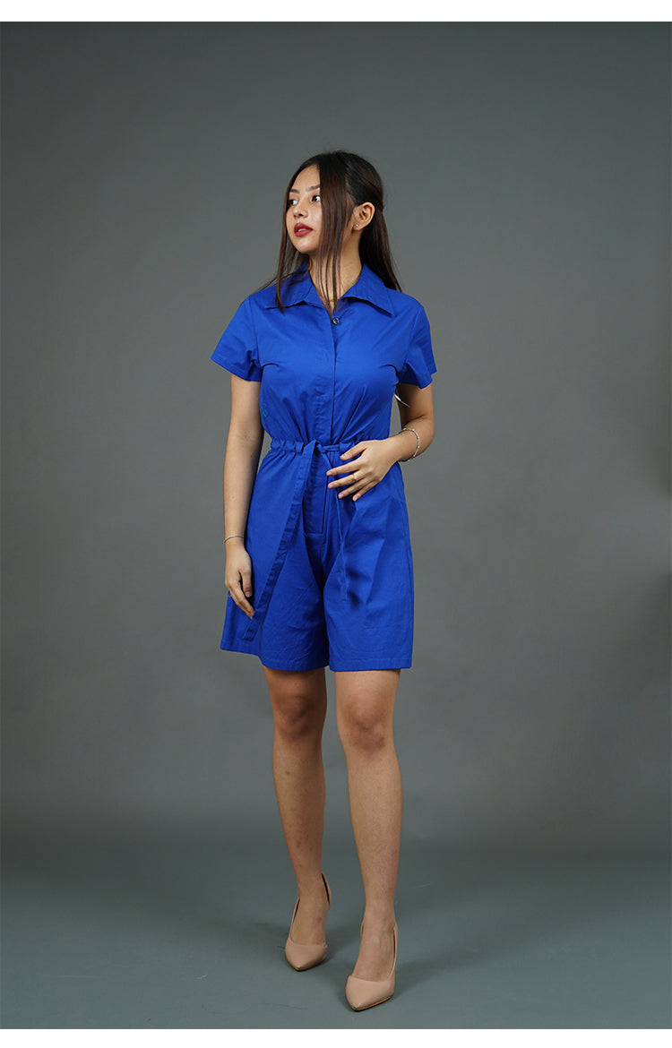 Collared Romper Shorts (Blue)