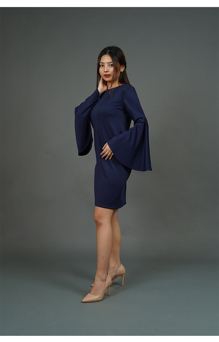 Flounce Sleeves Boat Neckline Dress (Navy Blue)
