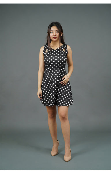 Black Sleeveless Dress with White Polka Dots