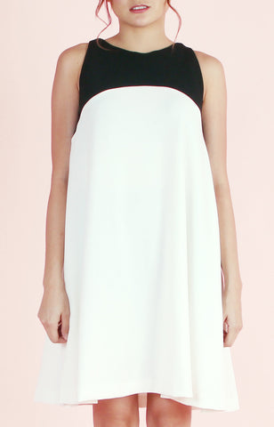 Sleeveless Dress Emma-Black and Cream