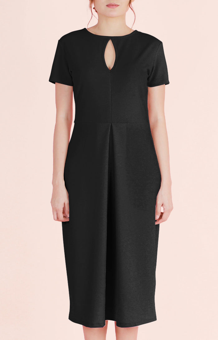 Inverted Box Pleat Dress Melanie-Black