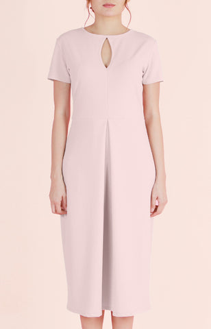 Inverted Box Pleat Dress Melanie-Blush