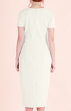 Inverted Box Pleat Dress Melanie-Cream